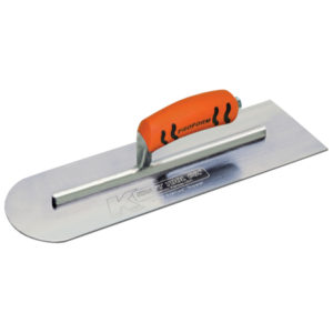 Photo of Kraft 14″ x 4″ Round Front/Square Back Carbon Steel Cement Trowel with ProForm Handle