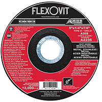 Photo of Flexovit 5″ x 1/4″ x 7/8″ Type 27  Depressed Centre Grinding Wheel