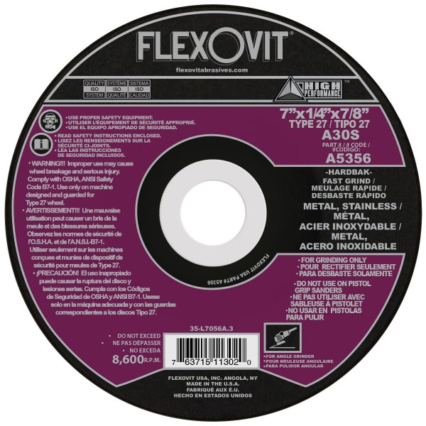 Photo of Flexovit 7″ x 1/4″ x 7/8″ Type 27 Grinding Wheel