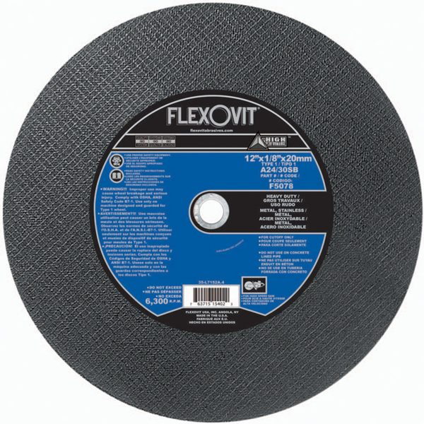 Photo of Flexovit 12″ x 1/8″ x 20mm Cut-Off Wheel